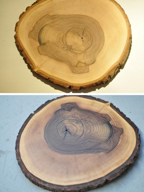 krążki drewna orzechowego